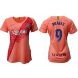 Women's 2018/19 Barcelona Third #9 Luis Suarez Pink Jersey