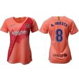 Women's 2018/19 Barcelona Third #8 Andres Iniesta Pink Jersey