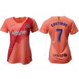 Women's 2018/19 Barcelona Third #7 Philippe Coutinho Pink Jersey