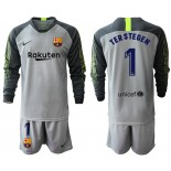2019/20 Barcelona Goalkeeper #1 TER STEGEN Gray Long Sleeve Shirt
