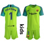 Youth 2019/20 Barcelona Goalkeeper #1 TER STEGEN Fluorescent Green Jersey
