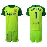 2019/20 Barcelona Goalkeeper #1 TER STEGEN Fluorescent Green Jersey
