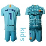 Youth 2019/20 Barcelona Goalkeeper #1 TER STEGEN Lake Blue Jersey