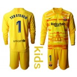 Youth 2019/20 Barcelona Goalkeeper #1 TER STEGEN Yellow Long Sleeve Shirt