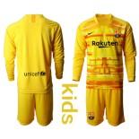 Youth 2019/20 Barcelona Goalkeeper Yellow Long Sleeve Shirt