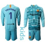 Youth 2019/20 Barcelona Goalkeeper #1 TER STEGEN Lake Blue Long Sleeve Shirt