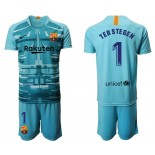 2019/20 Barcelona Goalkeeper #1 TER STEGEN Lake Blue Jersey