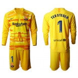2019/20 Barcelona Goalkeeper #1 TER STEGEN Yellow Long Sleeve Shirt