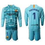2019/20 Barcelona Goalkeeper #1 TER STEGEN Lake Blue Long Sleeve Shirt