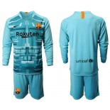 2019/20 Barcelona Goalkeeper Lake Blue Long Sleeve Goalkeeper Shirt