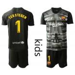 Youth 2019/20 Barcelona Goalkeeper #1 TER STEGEN Black Jersey