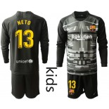 Youth 2019/20 Barcelona Goalkeeper #13 CILLESSEN Black Long Sleeve Shirt