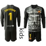 Youth 2019/20 Barcelona Goalkeeper #1 TER STEGEN Black Long Sleeve Shirt