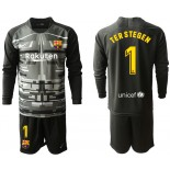 2019/20 Barcelona Goalkeeper #1 TER STEGEN Black Long Sleeve Shirt
