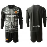 2019/20 Barcelona Goalkeeper Black Long Sleeve Goalkeeper Shirt