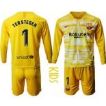 Youth 2019/20 Barcelona Goalkeeper #1 TER STEGEN Yellow Long Sleeve Shirt