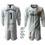 2019/20 Barcelona Goalkeeper #1 TER STEGEN Gray Long Sleevekids Shirt