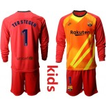 Youth 2019/20 Barcelona Goalkeeper #1 TER STEGEN Red Long Sleeve Shirt
