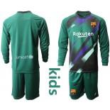 Youth 2019/20 Barcelona Goalkeeper Dark Green Long Sleeve Goalkeeper Shirt