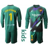 Youth 2019/20 Barcelona Goalkeeper #1 TER STEGEN Dark Green Long Sleeve Shirt