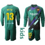 Youth 2019/20 Barcelona Goalkeeper #13 CILLESSEN Dark Green Long Sleeve Shirt