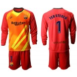 2019/20 Barcelona Goalkeeper #1 TER STEGEN Red Long Sleeve Shirt