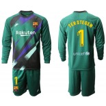 2019/20 Barcelona Goalkeeper #1 TER STEGEN Dark Green Long Sleeve Shirt
