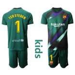 Youth 2019/20 Barcelona Goalkeeper #1 TER STEGEN Dark Green Jersey