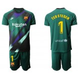 2019/20 Barcelona Goalkeeper #1 TER STEGEN Dark Green Jersey