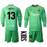 YOUTH Barcelona Goalkeeper #13 NETO Green Long Sleeve 2020-21 Jersey