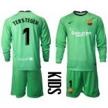 YOUTH Barcelona Goalkeeper #1 TER STEGEN Green Long Sleeve 2020-21 Jersey
