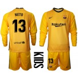 YOUTH Barcelona Goalkeeper #13 NETO Yellow Long Sleeve 2020-21 Jersey