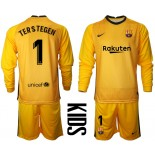 YOUTH Barcelona Goalkeeper #1 TER STEGEN Yellow Long Sleeve 2020-21 Jersey