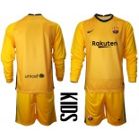 YOUTH Barcelona Goalkeeper Yellow Long Sleeve 2020-21 Jersey