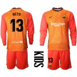 YOUTH Barcelona Goalkeeper #13 NETO Orange Long Sleeve 2020-21 Jersey