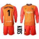 YOUTH Barcelona Goalkeeper #1 TER STEGEN Orange Long Sleeve 2020-21 Jersey