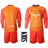 YOUTH Barcelona Goalkeeper Orange Long Sleeve 2020-21 Jersey