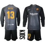YOUTH Barcelona Goalkeeper #13 NETO Black Long Sleeve 2020-21 Jersey