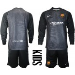 YOUTH Barcelona Goalkeeper Black Long Sleeve 2020-21 Jersey