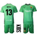 Barcelona Goalkeeper #13 NETO Green 2020-21 Jersey