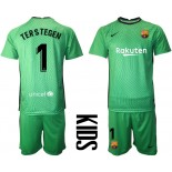 YOUTH Barcelona Goalkeeper #1 TER STEGEN Green 2020-21 Jersey