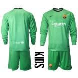 YOUTH Barcelona Goalkeeper Green Long Sleeve 2020-21 Jersey
