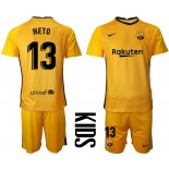 YOUTH Barcelona Goalkeeper #13 NETO Yellow 2020-21 Jersey