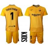 YOUTH Barcelona Goalkeeper #1 TER STEGEN Yellow 2020-21 Jersey