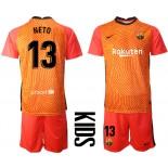 YOUTH Barcelona Goalkeeper #13 NETO Orange 2020-21 Jersey