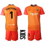 YOUTH Barcelona Goalkeeper #1 TER STEGEN Orange 2020-21 Jersey