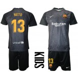 YOUTH Barcelona Goalkeeper #13 NETO Black 2020-21 Jersey