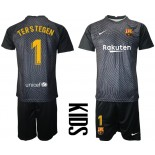 YOUTH Barcelona Goalkeeper #1 TER STEGEN Black 2020-21 Jersey