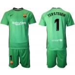 Barcelona Goalkeeper #1 TER STEGEN Green 2020-21 Jersey
