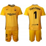Barcelona Goalkeeper #1 TER STEGEN Yellow 2020-21 Jersey